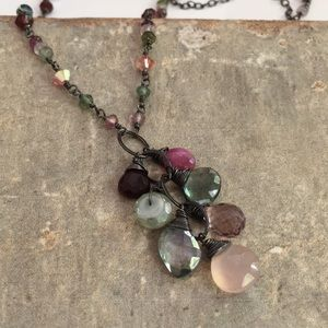 Soft pink and green cluster necklace sapphire